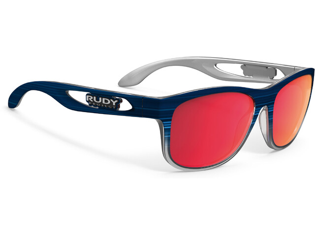 Rudy Project Groundcontrol Glasses Blue Streaked Matte/Polar 3FX HDR Multilaser Red